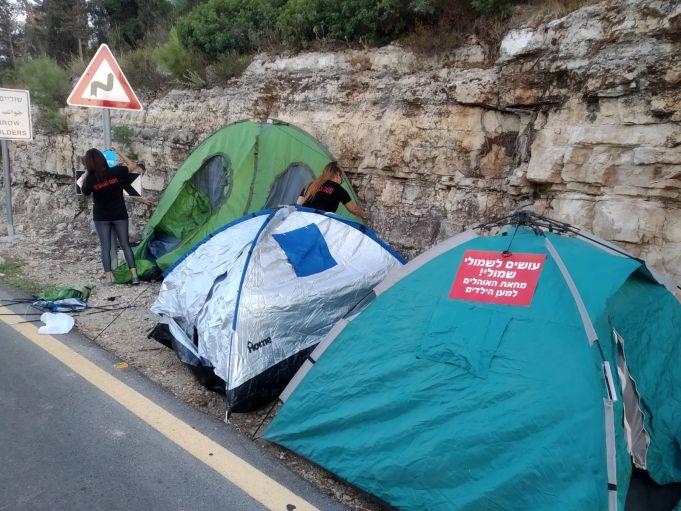מחאת האוהלים בכניסה לכסלון. צילום : קרן אור בית שמש