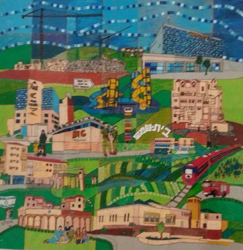 ציור תלמידי עוזיאל מוקירים את בית שמש