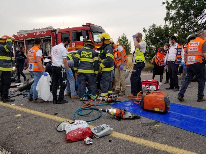 זירת התאונה צילום איחוד והצלה
