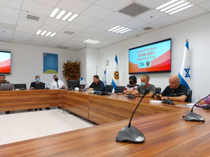 ישיבת עם פיקוד העורף צילום: דוברות העירייה