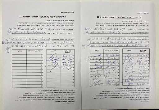 חתימות חברי הכנסת